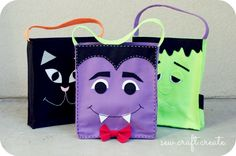 No-sew Hallowe'en treat bags! Dulceros Halloween, Halloween Trick Or Treat, Halloween Projects, Holidays Halloween, Halloween Treats, Halloween Decorations, Manualidades Halloween, Adornos Halloween, Halloween Taschen