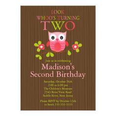 Cute Modern Owl 2nd Birthday Party Invitations