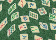 Jewish Fabric: Floating Mah Jongg Tiles on Green