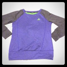 Addidas polyester sweater In excellent condition adidas sweater purple, grey and lime green. It is made of 100% polyester not cotton. And it has the cute thumb holes! Adidas Sweaters