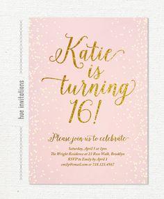 blush pink gold glitter sweet 16 party invitation, teen birthday party invite, gold glitter confetti 16th birthday invitation, 5x7 s112 by hueinvitations on Etsy https://www.etsy.com/listing/216106283/blush-pink-gold-glitter-sweet-16-party