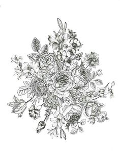 flowers bouquet without stems, radial pattern