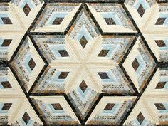Pastel Blue Brown and Tan Diamond Star Log Cabin Quilt Photo 3