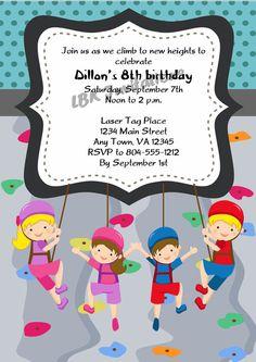Rock Wall Climbing Birthday Party Invitation Kids Birthday Party - Birthday party invitations rock climbing