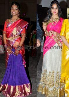 Shimmer Trendy Half Sarees   Saree Blouse Patterns