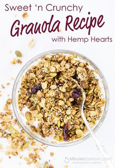 Homemade Granola Recipe - Packed with omegas and protein, this unbelievably delicious granola features hemp heart seeds and is sweetened with dates, maple syrup and coconut oil. And – as if that wasn't enough yum – macadamia nuts, hazelnuts and pumpkin se