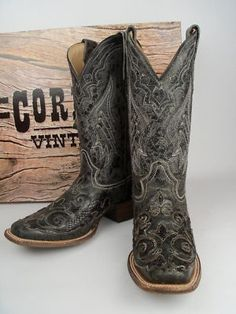 Ladies Corral Boots A2402 Black Python Overlay