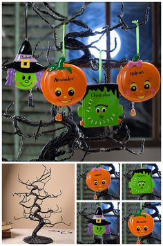 "LOVE LOVE LOVE this adorable Halloween decoration/centerpiece! It's the cool ""Ghoulish Glitter Ornament Tree"" from PersonalizationMall and you can personalize the adorable ornaments to hang on it! Can't get over how cute these are! #Halloween"