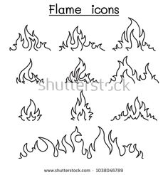 Fire and flames icon set in thin line style - compre este vetor no Shutterstock Kritzelei Tattoo, Doodle Tattoo, Tattoo Drawings, Tattoo Sketches, Flash Art Tattoos, Desenhos Old School, Fire Drawing, Flame Tattoos, Muster Tattoos