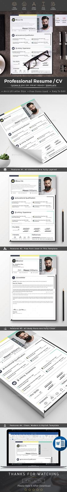Resume Template PSD, MS Word - A4 + US Letter Size