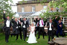 This photo made me Laugh Out Loud! The first leap was the best one, men - great effort!! #leapinggroomsmen