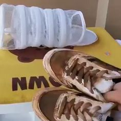 Tired Of Washing Your Shoes By Hand? Try this Shoe Wash Bag! Specially designed to wash your shoes in a simple way. Round sponge design and fine mesh, allow water and detergent to get through with no snagging. How To Wash Shoes, How To Store Shoes, Life Hacks Diy, Useful Life Hacks, House Cleaning Tips, Cleaning Hacks, Mesh Laundry Bags, Home Gadgets, Cool Inventions