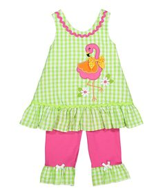 Green & Pink Flamingo Knit Top & Pants - Infant & Toddler & Girls