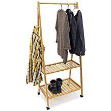 Relaxdays 10018982 - Zapatero de 2 niveles, con ruedas, bambú, 154 x 63 x 45 cm
