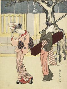 ntertainer and Her Attendant in Front of Matsumoto-ya c. 1768 Suzuki Harunobu (Japan, Asia) Woodblock print (nishiki-e); ink and col...
