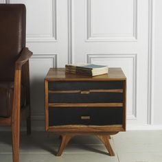 Graham and Green Two-Tone 50s Two Drawer Side Table