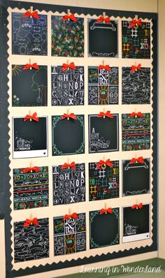 Learning In Wonderland: Classroom Decor~Scrapbook paper, clothespins and ribbon to display student work.