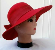 Vintage Late 1960 s (Approx) Retro 1940 s Red Felted Wool Ladies  Dress Hat 93b8af05e7c9