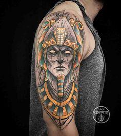 Osiris Tattoo by Kadu Tattoo Osiris Tattoo, Pharaoh Tattoo, Anubis Tattoo, God Tattoos, Famous Tattoos, Body Art Tattoos, Sleeve Tattoos, Tatoos, Trendy Tattoos