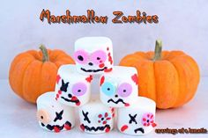 Marshmallow Zombies | Cravings of a Lunatic | #halloween #kidscrafts   This are so wicked adorable for Halloween. Great idea for kids for a party.