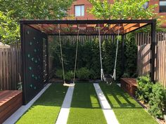 Backyard Swings, Backyard For Kids, Backyard Patio, Modern Playground, Diy Playground, Modern Backyard, Small Backyard Landscaping, Brooklyn Backyard, Kid Friendly Backyard