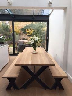 Vintage Industrial Modern Chic Oak X Metal Frame Chunky Dining Table - Breuhaus Furniture