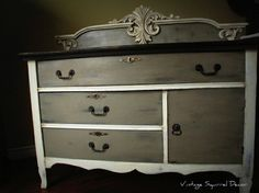 Custom Vanity painted in Annie Sloan chalk paint - Coco, Graphite and Old White using both Dark and Clear Wax.