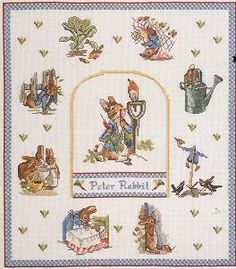 Beatrix Potter - The Tale of Peter Rabbit Cross Stitch For Kids, Just Cross Stitch, Cross Stitch Heart, Cross Stitch Alphabet, Cross Stitch Animals, Beatrix Potter, Cross Stich Patterns Free, Cross Stitch Designs, Cross Stitching