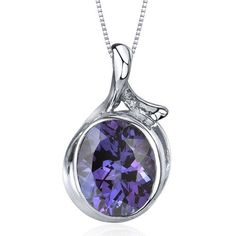 Boldly Colorful 6.75 carats Oval Cut Sterling Silver Rhodium Nickel Finish created Alexandrite Pendant Peora