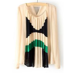 Color Block Pleated Chiffon Trendy Style Scoop Neck Long Sleeve Women's Blouse, AS THE PICTURE, S in Blouses   DressLily.com