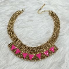 Gold and Pink Statement Necklace Gold and Pink Statement Necklace. Not Stella&Dot just tagged visibility Stella & Dot Jewelry Necklaces
