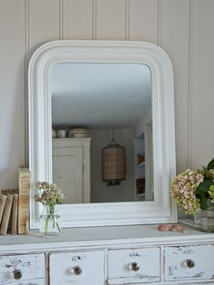Beaded White Mirror from Nordic Home