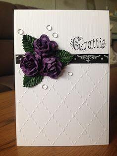 Randis hobbyverden: Grattis-kort i lilla, svart og hvitt CAS