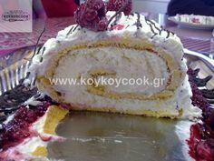 Εκπληκτικός Λευκός κορμός Χριστουγέννων! Ενα γλυκό σαν παραμύθι! | Cookbook Recipes, Cooking Recipes, Log Cake, Vanilla Cake, Cheesecake, Deserts, Food And Drink, Sweets, Basel