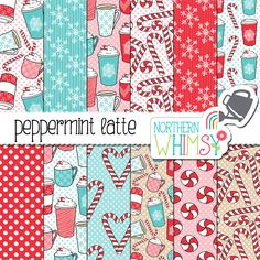 These cute Peppermint Latte digital papers include twelve digital papers with hand drawn seamless patterns. The patterns include candy canes, peppermints, and various coffee cups. The main colors in this package are pink, red, beige, and light blue.