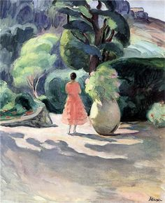The Alley of Jars at Pradet  Henri Lebasque.  The soft shapes of colors keep one's attention as the eyes keep weaving around the borders of this piece.