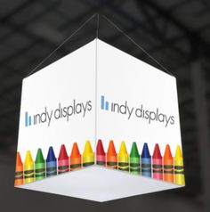 Portable LED Light Box Graphic Hanging Sign Cubes for Trade Shows and Conferences. #LED #lightbox #backlit #signagedesign
