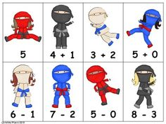 Math Match - Addition & Subtraction - Ninja Theme
