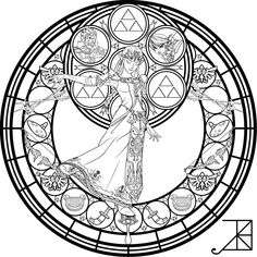 Stained Glass: Zelda -coloring page- by Akili-Amethyst.deviantart.com on @DeviantArt