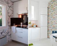 Utiliza papel pintado y cristal lacado para renovar la cocina