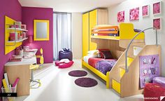 This room is a really interesting and bright split complementary design. The yellow, red violet, and blue violet in this room make it a split complement. I like the use of bright yellow against the purple. Its really bright and looks like a cool young girls room. I also like the white floor and one white wall that keep it calm.