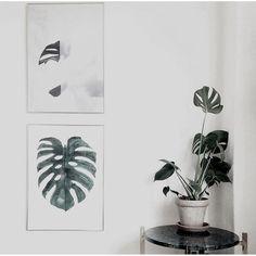 Monstera print in Ditteblog's beautiful living room  Picture by: ditteblog
