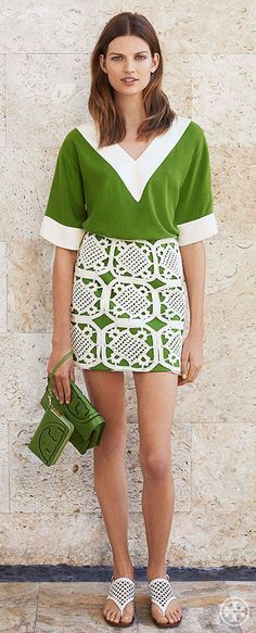 Mix textures: a slouchy silk tunic with a crochet mini | Tory Burch Summer 2014