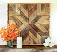 Reclaimed wood quilt square – 36 inch - Geometric wall art – Star pattern wall décor – Barnwood quilts – Country home – Large square artwork Barn Quilt Patterns, Wall Patterns, Wood Wall Art, Wall Art Decor, Wall Décor, Barn Wood Crafts, Wood Stars, Star Quilt Blocks, Geometric Wall Art