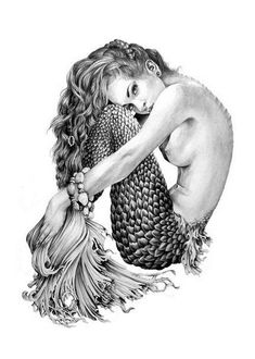 Mermaid- Illustration- Black and white- woman- portrait- fine art -siren- crouching mermaid Tattoo Painting, Mermaid Canvas, Tattoo Bein, Mermaid Illustration, Mermaid Fairy, Mermaid Lagoon, Mermaid Mermaid, Mermaids And Mermen, Drawings Of Mermaids