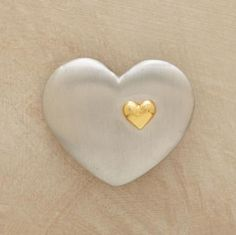 One small heart, golden in hue, symbolizes innermost feelings on a brushed pewter token. Carry it in your pocket or place it in your sacred space to remind you who and what you love. I Love Heart, Small Heart, Happy Heart, My Heart, Unique Clothes For Women, Touch Of Gold, Heart Art, Be My Valentine, Heart Shapes