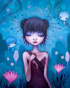 Jeremiah Ketner is an American artist. He writes acrylic paintings on wood  in the style of Japanese pop-art. Jeremiah's paintings are instantly recognizable amongst his contemporaries in the pop surrealism movement. His early work, characterized by mischievous sprites and whimsical patterns, has evolved into lush, richly colored environments inhabited by a cast of pensive, dreamy young women. …
