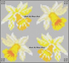 xx daffodils – Famous Last Words Beaded Cross Stitch, Cross Stitch Flowers, Cross Stitch Patterns, Hama Beads Patterns, Beading Patterns, Perler Bead Art, Perler Beads, Pixel Art, Felt Witch Hat