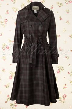 Collectif Clothing - Dietrich Check Trench Coat #topvintage