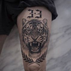 Lion Tattoos That Define Perfection Tiger and Lion Tattoos That Define Perfection - Tattoo artist Lazer Liz, authors style black&grey floral and animal tattoo Tiger Tattoo Thigh, Tigh Tattoo, Tiger Tattoo Sleeve, Thigh Tattoo Men, Knee Tattoo, Forearm Tattoos, Body Art Tattoos, Hand Tattoos, Sleeve Tattoos